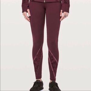 lululemon athletica Pants - Lululemon wunder under HR tight flocked size 10